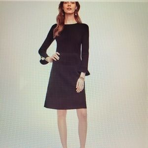 Ann Taylor Fluted Sleeve Refined Knit Dress Black
